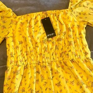 Nasty Gal Dresses - Nasty Gal Mustard Floral Square Neck Mini Dress